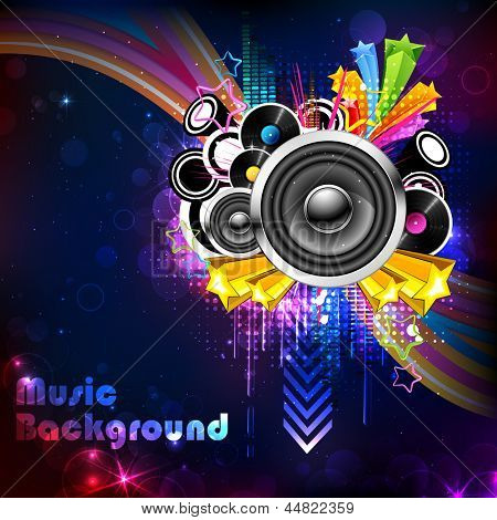 illustration of abstract musical background with colorful swirls