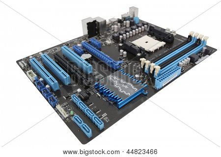 The image of mainboard isolated under the white background