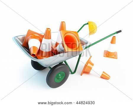 Wheelbarrow Traffic Cones ,road Cone On A White Background