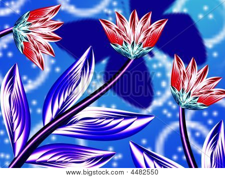 Flowerses On Turn Blue Background