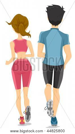 Illustration showing the Back View of Running Couple
