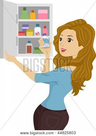 Ilustração de uma menina de abertura de um gabinete de medicina