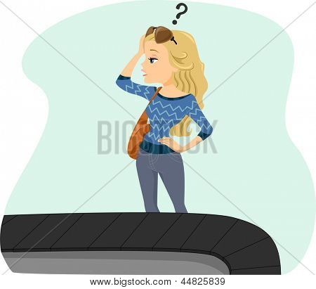 Illustration of a Girl Lost her Bag on Baggage Carousel