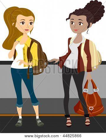 Illustration of Traveling Girls Riding a Walkalator