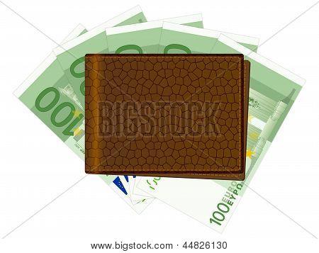 Brieftasche mit hundert Euro-Banknoten