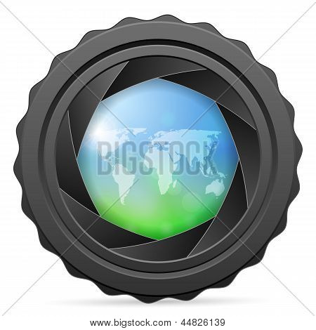 Camera Shutter With World Map