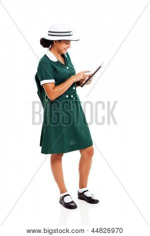 high school learner using tablet computer isolated on white