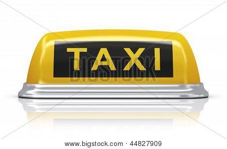 Yellow taxi car sign