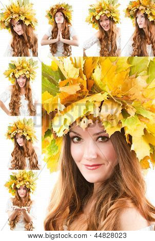 Beautiful Fall Woman. Collage Of Portrait Of Girl With  Autumn Wreath Of Maple Leaves On The Head On