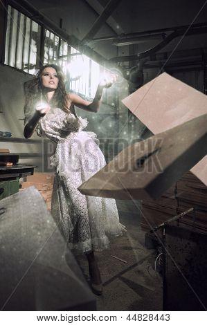 Beautiful Fairy Woman Throwing Sticks