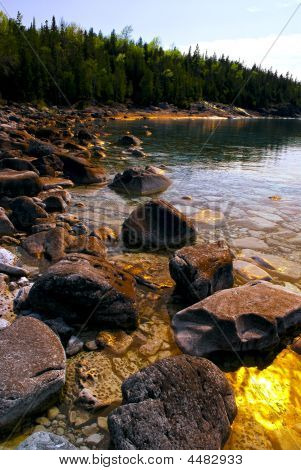 Rocks At Shore Of Georgian Bay