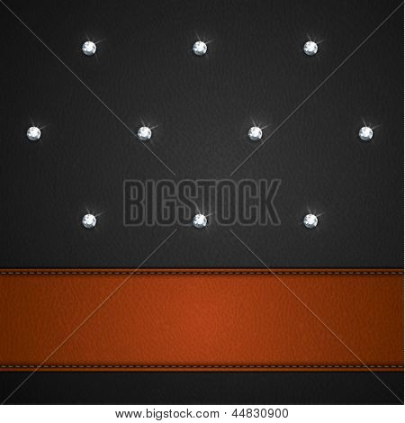 Luxury black leather background with leather stripe and diamonds  - raster version