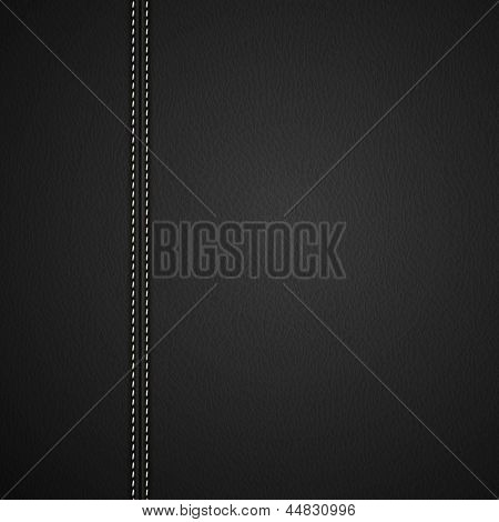 Black Leather background with white stitches - raster version
