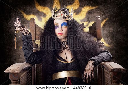 Storybook Queen Jester Holding Religious Cross