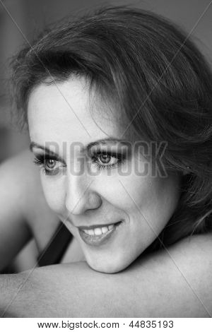 Black&White portrait of middleaged beautiful woman