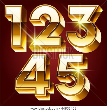 Three-dimensional golden alphabet. Vector illustration of 3d realistic font characters of gold. Numbers 1 2 3 4 5