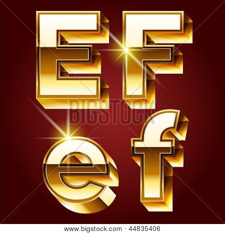 Three-dimensional golden alphabet. Vector illustration of 3d realistic font characters of gold. Letters e f