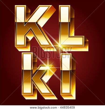 Three-dimensional golden alphabet. Vector illustration of 3d realistic font characters of gold. Letters k l