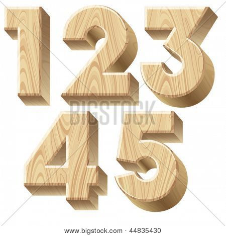 Three-dimensional wooden alphabet. Vector illustration of 3d realistic font characters of wood. Numbers 1-5