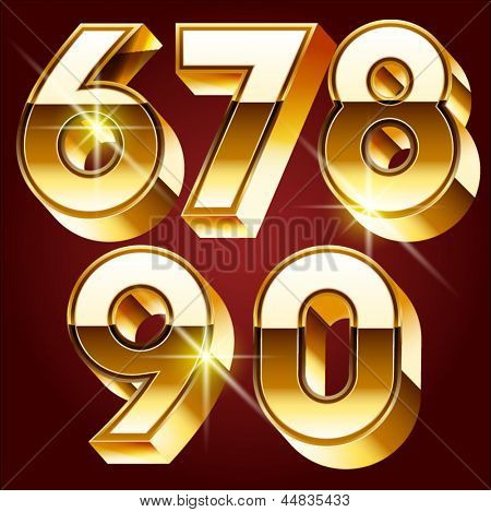 Three-dimensional golden alphabet. Vector illustration of 3d realistic font characters of gold. Numbers 6 7 8 9 0