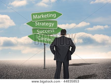 Businessman looking at signposts with marketing terms with bright blue sky