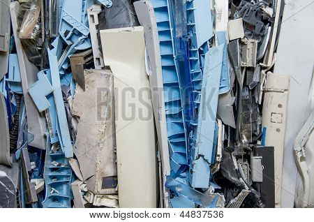 dismantled pastic computer parts for recycling