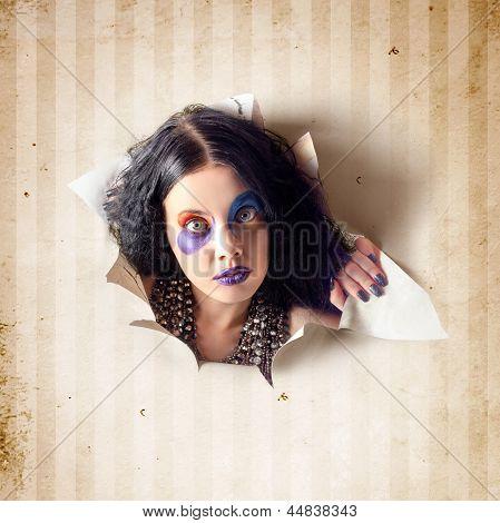 Beautiful Female Jester Breaking Out Of Wallpaper