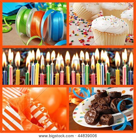 Colorful birthday celebration collage (includes closeup of frosted cake with burning candles, gifts, ribbons, balloons, cupcakes, and frosted brownies).