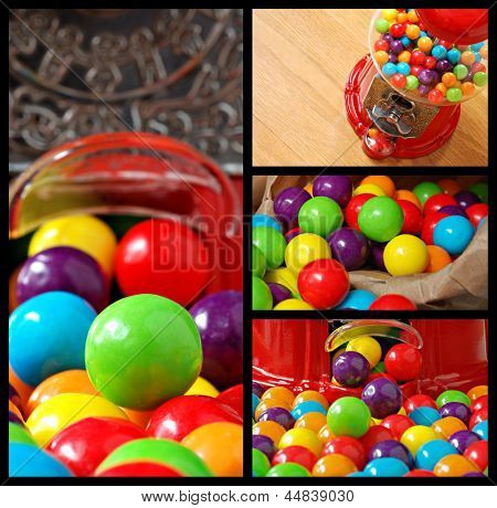 Collage of colorful bubble gum and old-fashioned gumball machine.