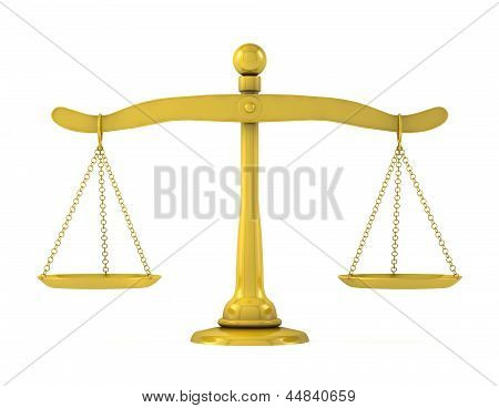 Golden Scales Of Justice On A White Background