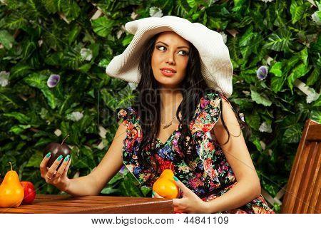 Girl Holding Fruits