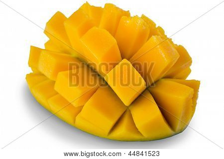 Extreme close-up image of mango fruit studio isolated on white background