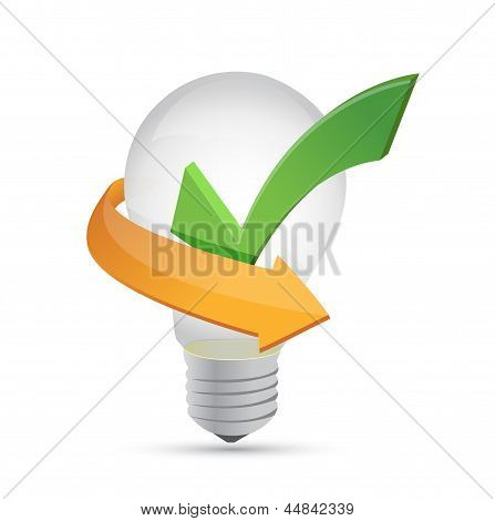 Green Tick Mark Inside Yellow Bulb Illustration