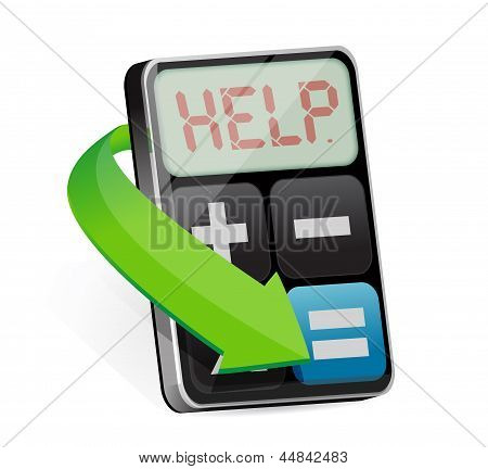 Calculator Displays The Word Help Illustration
