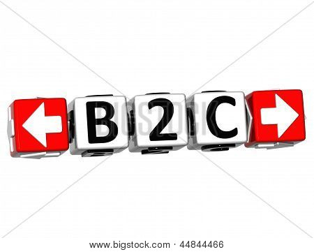 3D B2C Button Click Here Block Text