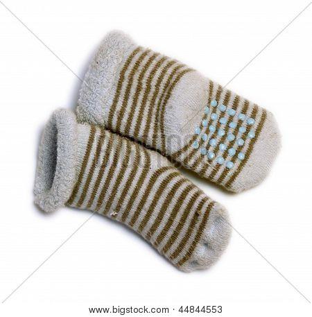 Baby Blue Socks Isolated On White