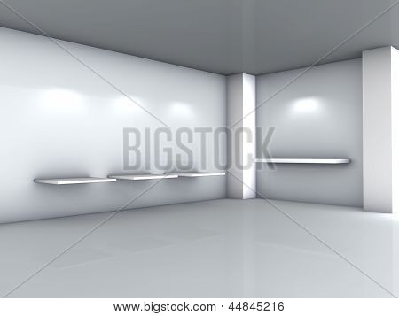 3D Shelves And Spotlights For Exhibit In The Grey Interior