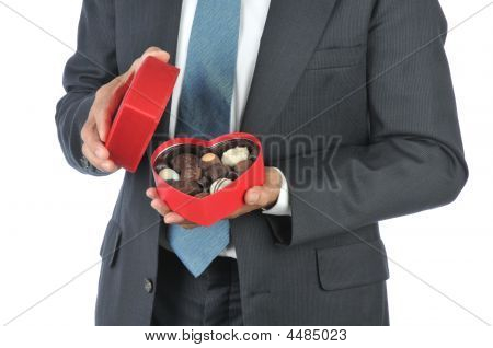 Man With Red Heart Candy Box