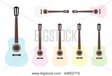 Beautiful Colorful Classical Guitars on White Background