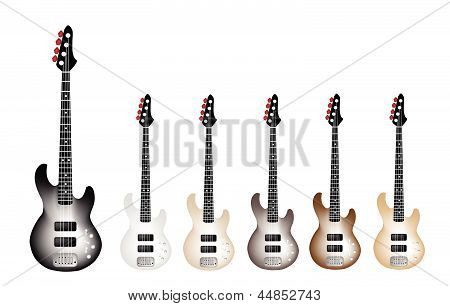 Beautiful Vintage Electric Guitars on White Background
