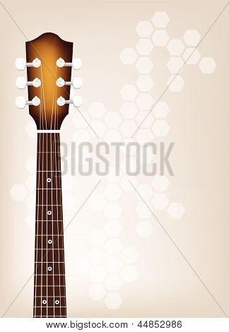 Acoustic Guitar Bridge on Beautiful Brown Background