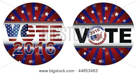 Vote 2016 Presidential Election Buttons Illustration
