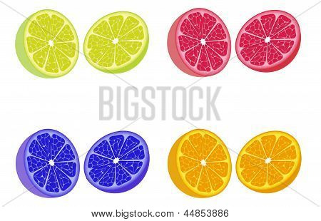 Colorful Lemon Halves
