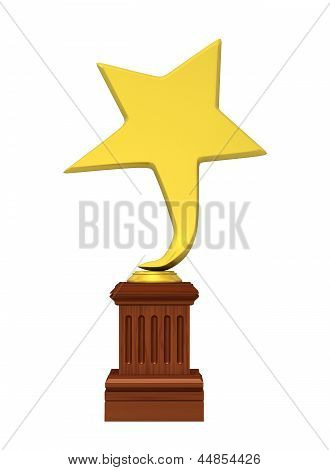 Golden Star Award Isolated On The White Background