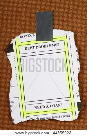 Debt Problems Newspaper Clipping