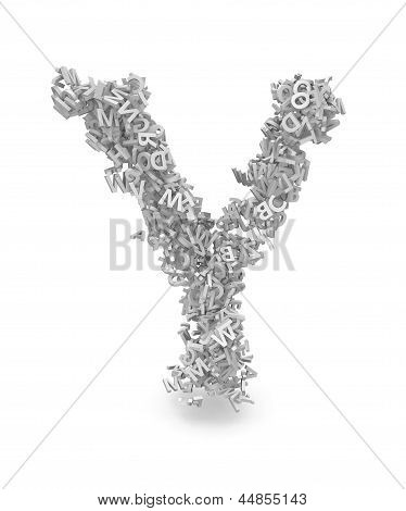 Shape Of Letter Y Made From 3D Letters