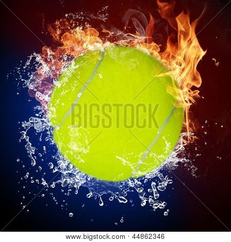 Tennis ball in fire flames and splashing water