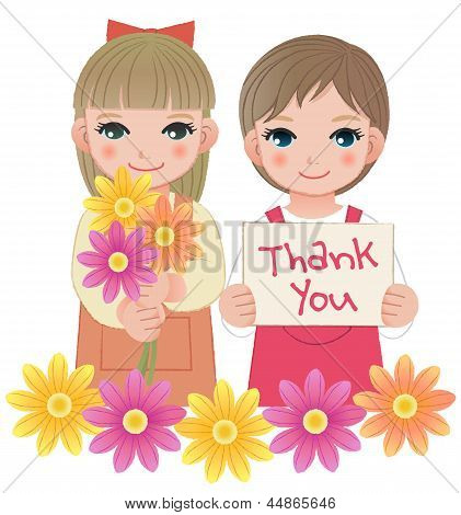 Little Girls Holding Thank You Sign And Flowers