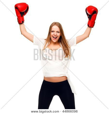 Woman Celebrating With Arms Up