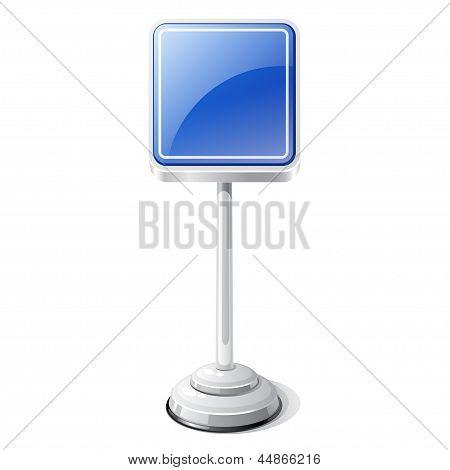 Mandatory road traffic sign isolated on white.